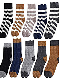 cheap -10 pairs men boys cozy fuzzy socks soft warm fluffy plush winter slipper sleep socks (mens shoe size us 4-8.5, a set of 10 pairs)