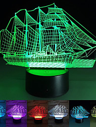 cheap -Sail Boat 3D Night Light 3D Optical Illusion Acrylic LED Night Light Novelty Table Bedside Lamp for Christmas Gift Beautiful Sea Boat Shape Nursing Baby Kids Night Light