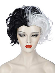 cheap -halloweencostumes Gothic Wig Cruella Deville Costume Wig Cosplay Black and White Wigs for Women Short Curly Wavy Bob Hair Wig Cute Synthetic Wigs for Party Halloween