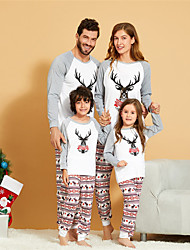 cheap -Family Look Family Matching Outfits Clothing Set Letter Animal Long Sleeve Print White Christmas