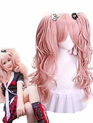 cheap -cosplay wig light pink wig long wave with ponytails for grils halloween custome party synthetic hair anime wigs(only wig)