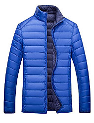 cheap -vcansion men's reversible stand collar lightweight down jacket blue xs