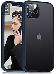 cheap -compatible with iphone 12 pro max case 6.7 inch (2020), [military grade drop protection][intoxicating touch] translucent shockproof matte phone case with soft edges, blue