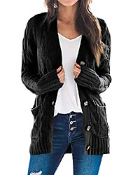 cheap -Women's Casual Solid Color Cardigan Long Sleeve Sweater Cardigans Open Front Fall Spring Dark powder White Black