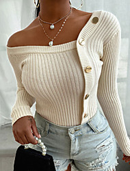cheap -Women's Distressed Knitted Button Striped Solid Color Pullover Long Sleeve Sweater Cardigans Crew Neck Fall Winter White Black Blue