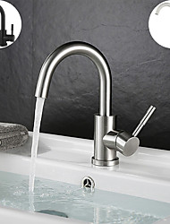 cheap -Single Handle Bathroom Faucet,Black Nickel/White Dainted/Brushed Nickel One Hole Standard Spout Stainless Steel Bathroom Sink Faucet with Hot and Cold Water