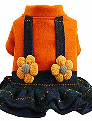 cheap -dog apparel, small dog girl dress pet puppy cat lace flower vest skirt clothes (orange,xl)
