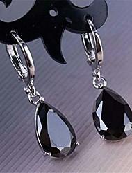 cheap -925 sterling silver cz drop dangle earrings, fashion cubic zirconia teardrop water drop cut leverback earrings for women girlsdeep blue