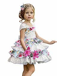 cheap -baby girls dress floral print sleeveless off-shoulder backless straps skirt kids summer casual dresses 110
