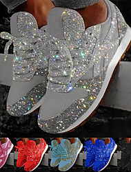 cheap -Women's Trainers Athletic Shoes Sneakers Sequins Bling Bling Sneakers Silver Flat Heel Round Toe Sporty Casual Daily Outdoor Tennis Shoes Walking Shoes Mesh Sequin Solid Colored Color Block Black Red