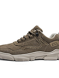 cheap -Men's Trainers Athletic Shoes Casual Athletic Running Shoes Leather Breathable Wear Proof Camel Khaki Spring Fall