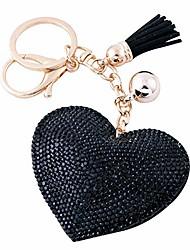cheap -glitter love heart keychain premium ss6 crystal tassel key chain leather bag charm for women girls (black)