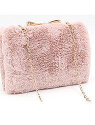 cheap -Women's Bags Faux Fur Evening Bag Feathers / Fur Chain Plain Plush 2020 Party Daily White Almond Blushing Pink Army Green