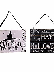 cheap -2 pieces halloween themes welcome boards haning welcome sign wooden hanging welcome boards for home office halloween party decorations