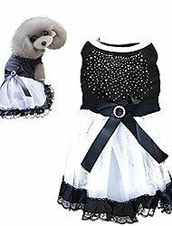 cheap -dog dress black crystal lace tutu gauze skirt puppy bowknot princess dress party pet apparel clothes for dogs and cats (m)