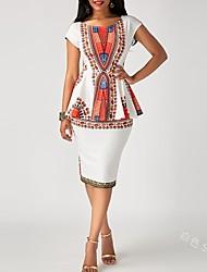 cheap -Women's Sheath Dress Knee Length Dress - Short Sleeve Print Print Fall Casual 2020 White S M L XL XXL 3XL