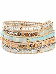 cheap -iuniqueen boho handmade 5 wraps wrist stone crystal beaded stainless stell box chian bracelet jewelry for women and men (indian agate&green crystal)