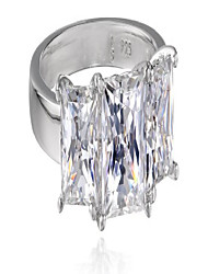 cheap -platinum-plated sterling silver princess-cut 3-stone ring made with swarovski zirconia (4 cttw), size 8