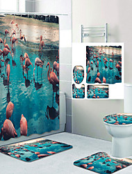 cheap -Flamingo Flock By The River Digital Printing Four-piece Set Shower Curtains and Hooks Modern Polyester Machine Made Waterproof Bathroom