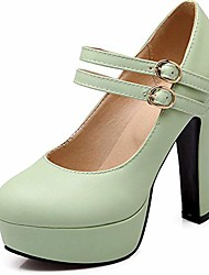cheap -high heel pumps for women, platform heels, comfortable faux leather sweet double buckle strap mary jane shoes