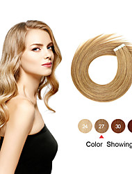 cheap -Tapes Hair Extensions Remy Human Hair 20pcs Pack Straight Hair Extensions
