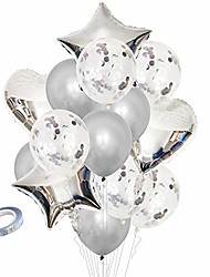 cheap -party balloons latex balloons confetti balloons and star heart foil balloons birthday party decoration kids baby shower, perfect for wedding supplies 15pcs (silver)