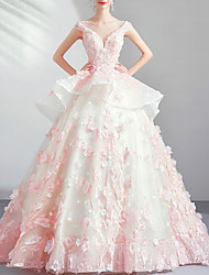 cheap -Ball Gown Elegant Floral Quinceanera Engagement Dress Illusion Neck Sleeveless Floor Length Lace Tulle with Beading Appliques 2020