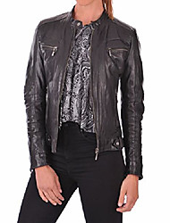 cheap -100% leather jacket for women - round collar, slim fit & quilted - moto, bomber, biker winter casual wear - gray12rc - medium