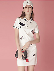 cheap -Women's Tennis Golf Dress Short Sleeve Quick Dry Breathable Soft Sports Outdoor Summer Cotton Patchwork Red White Dark Blue / Stretchy