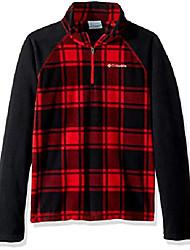 cheap -boys' big glacial iii fleece printed half zip, red spark check, medium