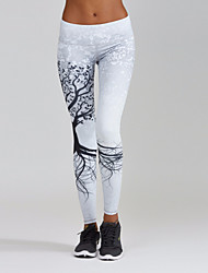 cheap -Women's Sporty Comfort Skinny Gym Yoga Leggings Pants Plants Ankle-Length Patchwork Print High Waist White Black