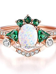 cheap -rose gold plated rings white opal emerald cubic zirconia ring set mother's day jewelry gift (white opal, 7)