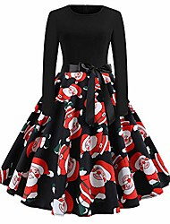cheap -christmas vintage dress, elegant long sleeve print dresses - o neck xmas evening party swing dress(h-red,xl)