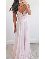 cheap -A-Line Beautiful Back Sexy Wedding Guest Formal Evening Dress V Neck Sleeveless Floor Length Chiffon with Sash / Ribbon Appliques 2021
