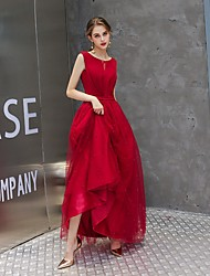 cheap -A-Line Minimalist Elegant Wedding Guest Engagement Dress Jewel Neck Sleeveless Floor Length Tulle with Beading 2021