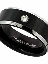 cheap -8mm black tungsten 900 diamond wedding ring 0.07 cttw two-tone beveled edges comfort fit, size 10.5