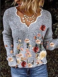 cheap -Women's Stylish Basic Embroidery Knitted Floral Pullover Long Sleeve Cardigans V Neck Fall Winter Gray