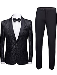 cheap -Men's Suits Tuxedos Standard Fit Shawl Collar Single Breasted One-button Slim Fit Bottons Soild Color Jacket for Men Business Wedding Suits