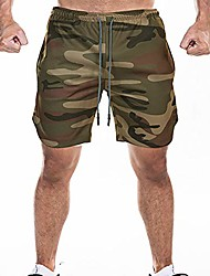 "cheap -men's 2-in-1 workout running shorts 7"" lightweight gym yoga training sport short pants 2020… green camouflage"