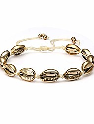 cheap -shell anklets for women boho natural cowrie seashell beads ankle bracelets handmade adjustable summer foot jewelry (gold shell)