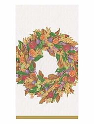 cheap -autumn wreath paper guest towel napkins in ivory - 15 per package