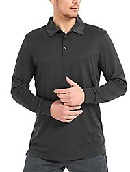 cheap -men's golf polo shirt long sleeve outdoor workout active t shirt upf 50+ sun protection (black, large)