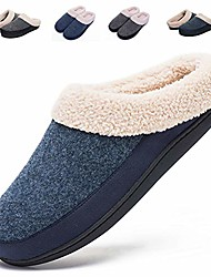 cheap -cotton house slippers men warm fur lined slip on shoes for snow winter bedroom indoor slipper(large / 9.5-10.5,light blue/navy)