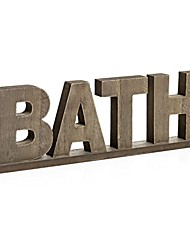 cheap -rustic vintage wooden words sign free standing bath, bathroom/home wall/door decoration art (natural 1)