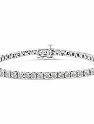 """cheap -.925 sterling silver 1.0 cttw miracle-set diamond round faceted bezel tennis bracelet (i-j color, i3 clarity) - 7"""""""