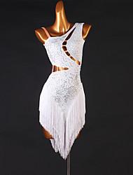 cheap -Latin Dance Dress Tassel Appliques Split Joint Women's Ladies Training Performance Sleeveless High Chinlon / Jazz