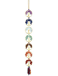 cheap -7 chakra stones reiki healing crystals tree of life hanging ornament home wall decoration for good luck yoga meditation protection