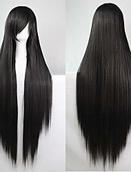 cheap -39'' womens long straight synthetic black wig girl's halloween cosplay party wig