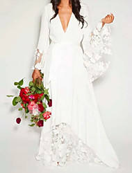 cheap -A-Line Wedding Dresses V Neck Floor Length Chiffon Lace Long Sleeve Casual Illusion Detail with Lace Insert 2021