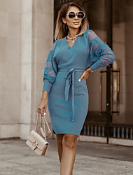 cheap -Women's Sheath Dress Knee Length Dress - Long Sleeve Solid Color Lace Patchwork Spring Fall V Neck Elegant Sexy Going out 2020 Black Blue Wine Khaki S M L XL XXL